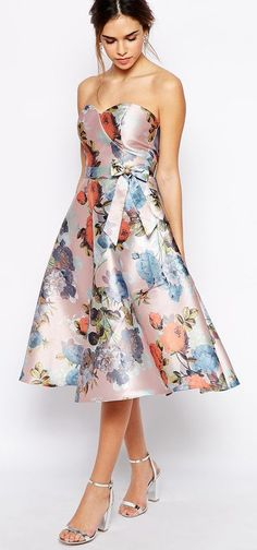 Chi Chi London Bandeau Debutant Midi Skater Dress In Floral Print