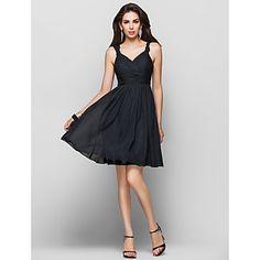 Free Measurements ! A-line Straps Knee-length Chiffon Cocktail Dress – USD $ 100.09