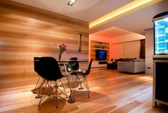 Hong Kong Wooden Apartment Decoration 2 Decorated With Contemporary Wood Paneling