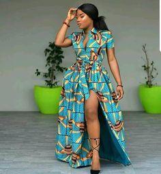 Ankara shirt maxi dress