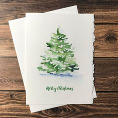 Watercolor Christmas Tree - Set of 10 Christmas Cards Watercolor Christmas Tree Cards. Set of 10 - 5 Watercolor Christmas Tree, Christmas Tree Painting, Christmas Drawing, Watercolor Trees, Watercolor Cards, Watercolor Paintings, Simple Watercolor, Watercolor Landscape, Tattoo Watercolor