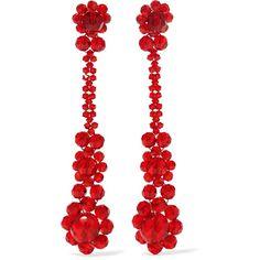 Simone Rocha Crystal earrings ($220) ❤ liked on Polyvore featuring jewelry, earrings, red, earrings jewellery, red crystal jewelry, crystal earrings, earring jewelry and crystal stone jewelry
