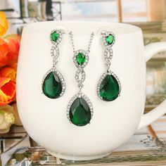 EVER FAITH Emerald Color CZ Necklace Earrings Set Austrian Crystal SilverTone ** You can get additional details at the picture web link. (This is an affiliate link). Emerald Color, Austrian Crystal, Elegant Wedding, Earring Set, Jewelry Sets, Silver Rings, Faith, Shapes, Crystals