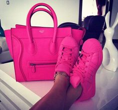 celine hot pink tote bag with hot pink adidas super star                                                                                                                                                                                 More