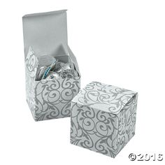 Silver Swirl Gift Boxes - Oriental Trading Company