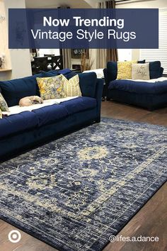Find ideas to decorate your living room with area rugs runners & rug decor in timeless handcrafted designs. Find ideas to decorate your living room with area rugs runners & rug decor in timeless handcrafted designs. Navy Blue And Grey Living Room, Blue Living Room Decor, Living Room Redo, Blue Rooms, Rugs In Living Room, Home And Living, Living Room Designs, Bedroom Decor, Room Rugs