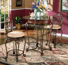 3 pc cherry pub table set opal collection image ashley furniture french style breakfast set furniture