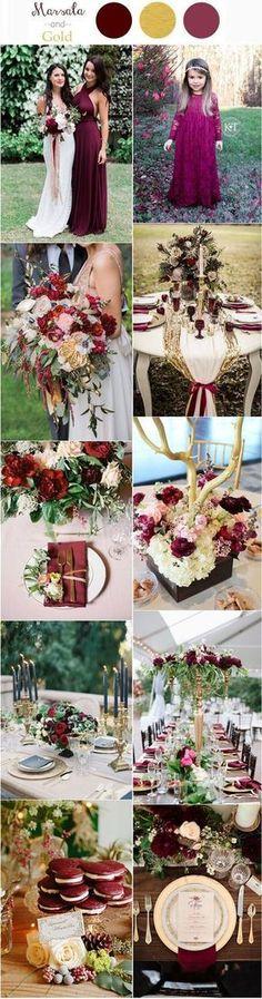 30 Elegant Fall Burgundy and Gold Wedding Ideas #weddingflowers