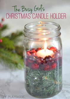 Have a few minutes? Then you should create this mason jar Christmas candle holder. All you need is some greenery, fresh cranberries, and a candle.