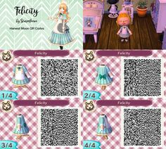 Harvest moon felicitys cute dress for Animal crossing new leaf acnl crossover felicity qr code blue white outfit bows cooking girl design by sturmloewe