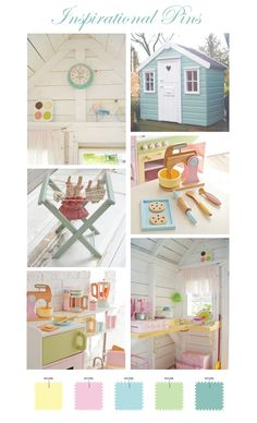 playhouse inspiration - i like the kitchen set inside the playhouse. will definitely have to remember that when we get ready for this stage.