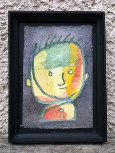 Little boy in yellow/ original surreal miniature oil by ZsofiVarga