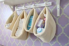 Knit Hanging Bags to store diaper supplies over the changing table