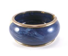 Vintage Deep Blue Marble Lucite And Brass Hinged Clamper Bangle Bracelet  Vintage Jewelry Boho Chic by paleorama on Etsy