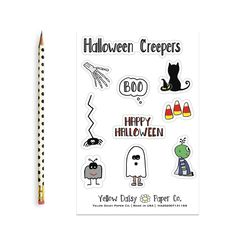 Halloween Creepers Sticker Sheet, Vinyl Stickers Variety Set of Stickers - NEW Halloween Stickers, Halloween Treats, Funny Thank You Cards, Journal Stickers, Paper Companies, Papers Co, Boyfriend Birthday, Funny Birthday Cards, Teacher Gifts