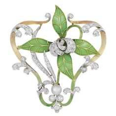 Art Nouveau Gold, Platinum, Enamel, Plique-a-Jour Enamel, Pearl and Diamond Pendant-Brooch