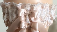Blush with Ivory Lace Wedding Garter Set, Prom Garter Set