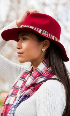 Genuine wool fedora with a wide brim and a tribal-printed fabric band.