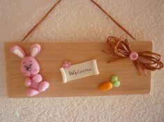 plaque de porte lapin rose