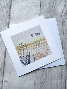 Countryside greeting card, landscape card Freehand Machine Embroidery, Free Motion Embroidery, Machine Embroidery Patterns, Applique Stitches, Applique Embroidery Designs, Embroidery Art, Fabric Cards, Fabric Postcards, Patchwork Cards