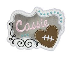 Your little football fan will look absolutely adorable when they sport an outfit, bag, or accessory accented with one of these personalized football patches. This patch can be used for your next project in either an iron on or sew on patch. Football Heart, First Football, Football Fans, Name Patches, Sew On Patches, Iron On Patches, Personalized Football, Embroidery, Sewing