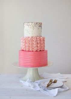 Gold glitter and pink rosettes two tiered cake Melissas Cakes