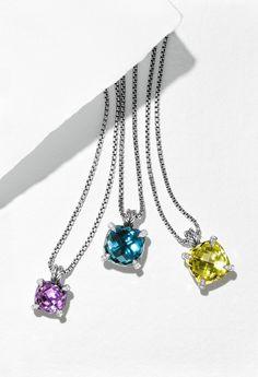 Châtelaine pendants with amethyst, Hampton blue topaz, or lemon citrine.