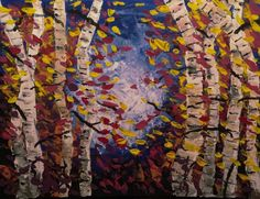 Birch trees in autumn  Tobias Gerber, January 2020 acrylic on canvas 50x40cm.  I know, it is winter. In the last days, I went through the woods and saw some Birch's together. It was a beautiful picture with a lot of colors in autumn. I missed my camera in this days. Now, everything was grey. Maybe next time I have my camera with me.