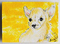 Chihuahua fridge magnet original painting by Brianna of treehugginlovin on Etsy SOLD
