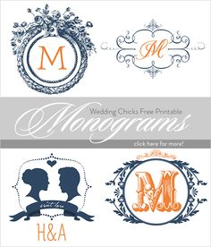 Wedding Chicks customizable monograms | free wedding printables | wedding stationery | #weddingchicks
