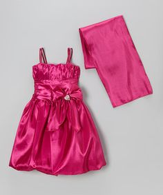 Love this Cinderella Couture Fuchsia Rhinestone Bow Dress & Shawl - Girls by Cinderella Couture on #zulily! #zulilyfinds