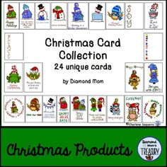 This is a set of 24 unique Christmas cards created using the wonderful seasonal saying from DJ Inkers and the whimsical clipart from Whimsy Workshop Graphics. They are blank inside so that they can be personalized.The cover page shows all the card designs available.