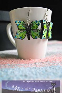 Paper Quilled Green Butterfly Earrings