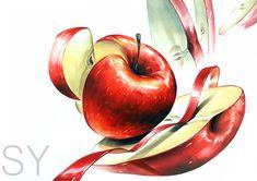13#기초디자인#입시미술#개체#개체표현#사과#양감 #SY 2d Design, Food Illustrations, Copic, Miniatures, Fruit, Drawings, Nature, Painting, Colorful Paintings