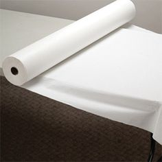 Hoffmaster 40 inch x 100 Linen-Like White Roll Table Cover... Good, inexpensive alternative to tablecloths