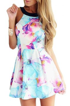 Halter Neck Floral Slim Flare Dress - US$13.95 -YOINS