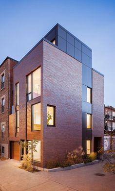 02 Townhouse Exterior, Modern Townhouse, Modern Condo, Townhouse Designs, Brick Cladding, Brick Facade, Villa Design, Facade Design, Brick Architecture