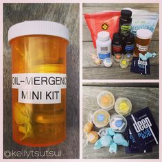 Oil-MERGENCY Kit or Sample Kit DIY- Using an old prescription bottle(the irony) I filled it with dōTERRA products that I love to have on hand all the time but would take up too much room to carry it in my bag!! It contains: 2- Deep Blue Rub samples 2- Breathe lozenges 2- OnGuard Lozenges 10 each soft gels- DigestZen OnGuard & TriEase and 6- DigestZen Tabs. I found small paint sample holders at the craft store for the soft gels and removed the old stickers added a label and voila! Great for…