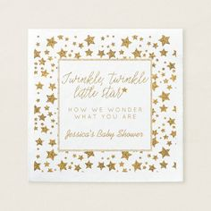 Shop Twink, Twinkle Little Star Baby Shower Paper Napkins created by Invitation_Republic. White Baby Showers, Star Baby Showers, Baby Shower Party Supplies, Baby Shower Parties, Unique Baby Shower, Baby Shower Gender Reveal, Little Star, Paper Napkins, Baby Shower Invitations