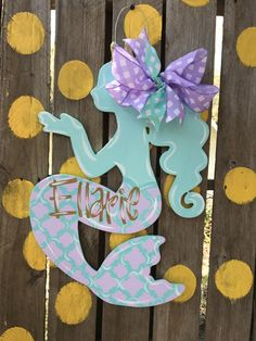 Mermaid Door Hanger Mermaid Door Hanger door hanger Spring door hanger Summer door by ArtByAudet Items similar to Summer Wreath I. Hospital Door Hangers, Baby Door Hangers, Wooden Door Hangers, Wooden Doors, Painting On Pallet Wood, Summer Door Wreaths, Kids Wood, Wood Cutouts, Painted Doors