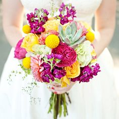 Fuchsia and Yellow Bridal Bouquet // Perez Photography // Bridal Bouquet: Artisan Bloom // http://www.theknot.com/weddings/album/a-rustic-mountain-resort-wedding-in-sundance-utah-130840