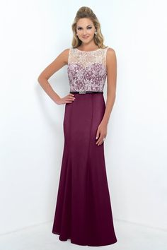 Style 4188 bridesmaid dress by Alexia Designs, pictured in Berry with Ivory lace bodice and black waist belt.