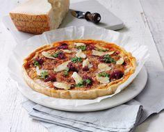 Tropea Onion, Sausage & Grana Padano Quiche recipe by Francesco Mazzei of L'Anima, Grana Padano. . Serves 4. Find more great Lunch, Pastry, Picnic, Quiche recipes at Kitchen Goddess.