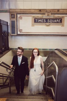 NYC Subway - Times Square.  Our spontaneous wedding session in NYC - there was no professional photographer, just a friend of us, who helped with this crazy idea :)
