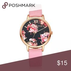 🎁5 for $25🎁 Watch with leatherband Beautiful watch with Roman numerals and flowers on the face. Brand new and never worn.  ***Limit 1 watch per bundle special. This applies to all watches in my closet.*** Accessories Watches
