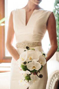 White orchid bridal bouquet - elegant bouquet idea {Millie B Photography}