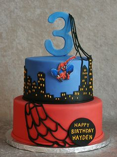 Spiderman Themed Birthday Cake - Spiderman was a printed edible image mounted on gumpaste. Webs and number were also gumpaste.