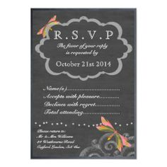 Vintage Chalkboard & Pink & Yellow Dragonfly RSVP Personalised Invites