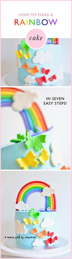 """This cake is super sweet for a rainbow party! This is the perfect cake for a beginner to try - it's so easy to get a """"wow"""" result. Diy Craft Projects, Craft Tutorials, Fun Crafts, Rainbow Party Decorations, Unicorn Party, Unicorn Cakes, Unicorn Birthday, Rainbow Birthday, Party Time"""