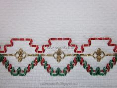 Color con Estilo: Lindísimo!! Bordado navideño en vagonite. Modelo 1. Tape Art, Crochet Pouch, Ribbons, Craft, Ribbon Embroidery Tutorial, Embroidered Towels, Table Toppers, Embroidery